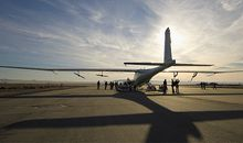 AeroVironment's Global Observer (in California last year), designed to fly for a week on hydrogen, will triple the endurance of experimental, gas-powered UVAS from the late 1980s.