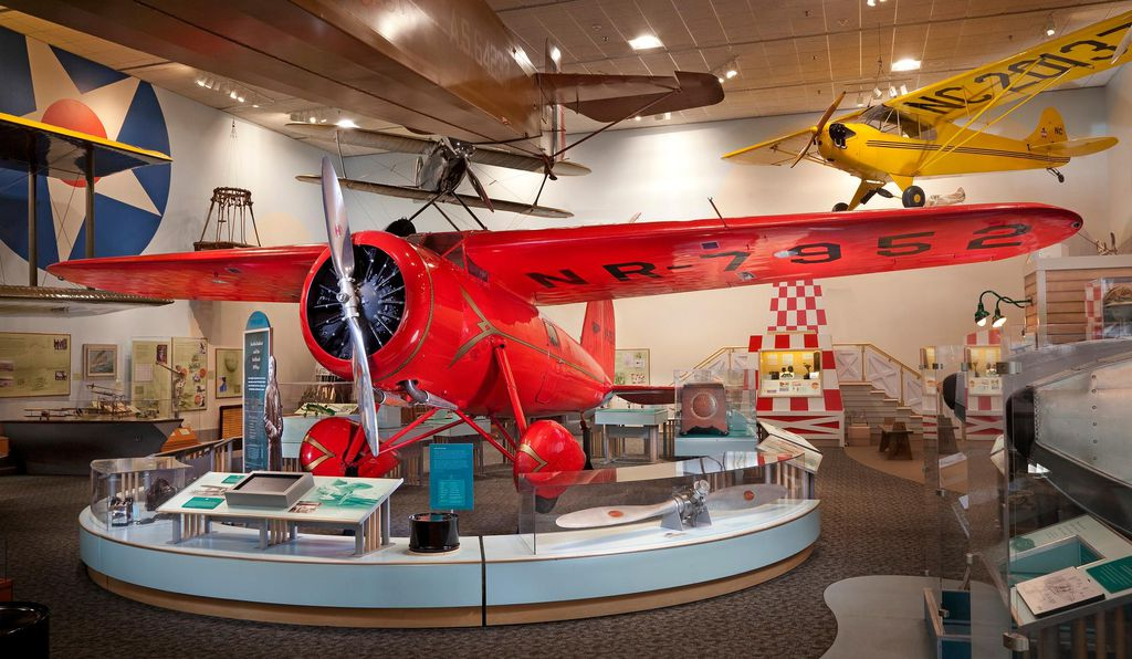 This sporty Lockheed Vega airplane was Amelia Earhart's choice of transportation in her unprecedented flights across the Atlantic Ocean and across the breadth of the United States, both of which she completed successfully in 1932.