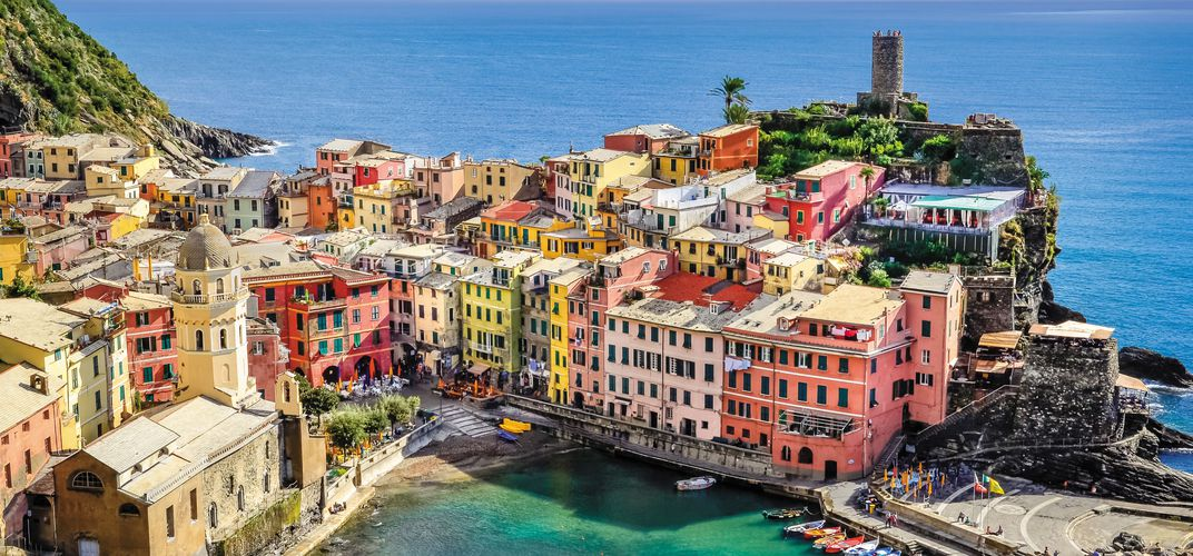 Vernazza, one of Italy's charming towns known as the Cinque Terre, along the Riviera