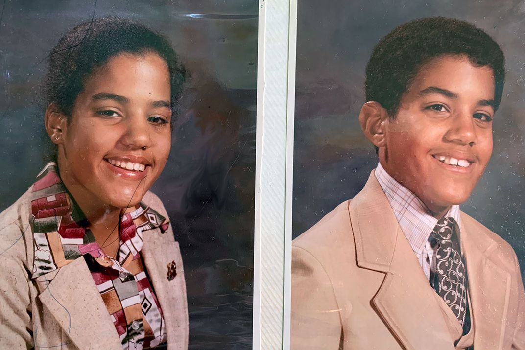 School portraits of twin brother and sister, high school age and both in suit jackets and smiling. Photos placed side by side.