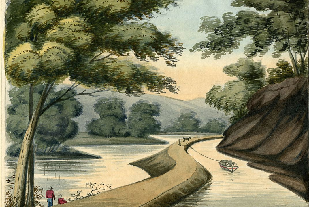 Old drawings depict early days on the Erie Canal