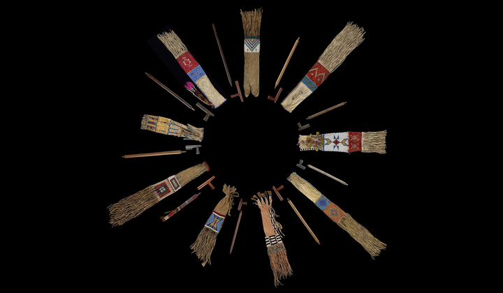 "Plains nations' pipes and pipe bags from the collections of the National Museum of the American Indian  and the Division of Anthropology, American Museum of Natural History. On view in the exhibition ""Nation to Nation: Treaties Between the United States and American Indian Nations"" at the National Museum of the American Indian in Washington, D.C. (Ernest Amoroso, Smithsonian)"