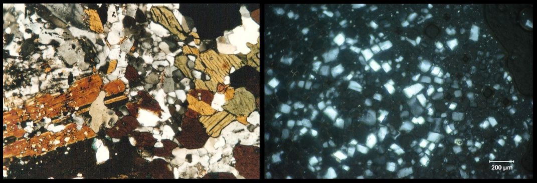 Composite comparing rock and ice crystals under a microscope