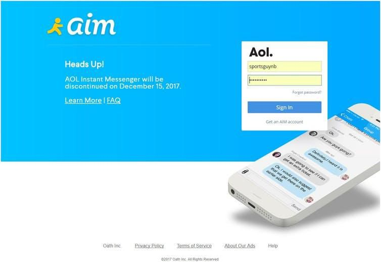 The login page from AIM.com
