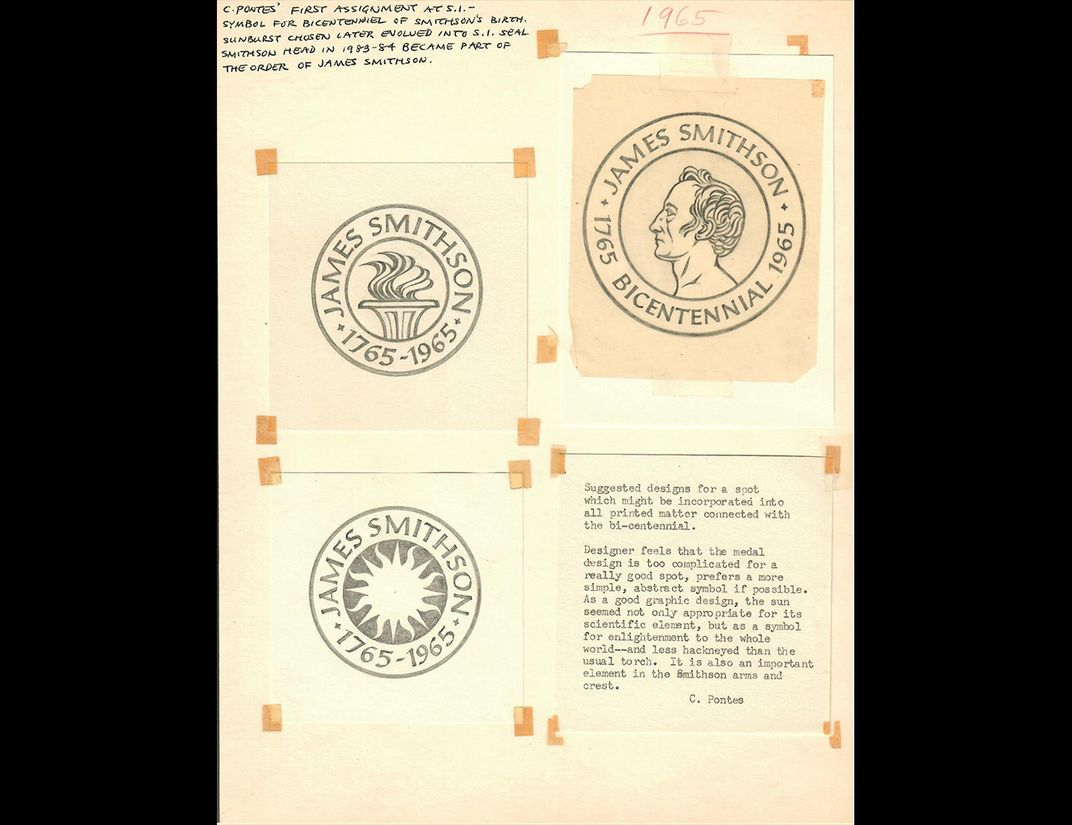 Design page with three versions of Smithsonian Bicentennial logo and notes from Pontes.