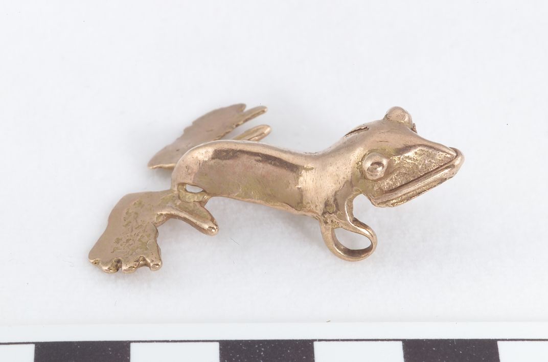 Gold alloy frog pendant, AD 900–1600, Bocas del Toro, Panama. Frogs were used by indigenous people to symbolize water and perhaps magical transformation.