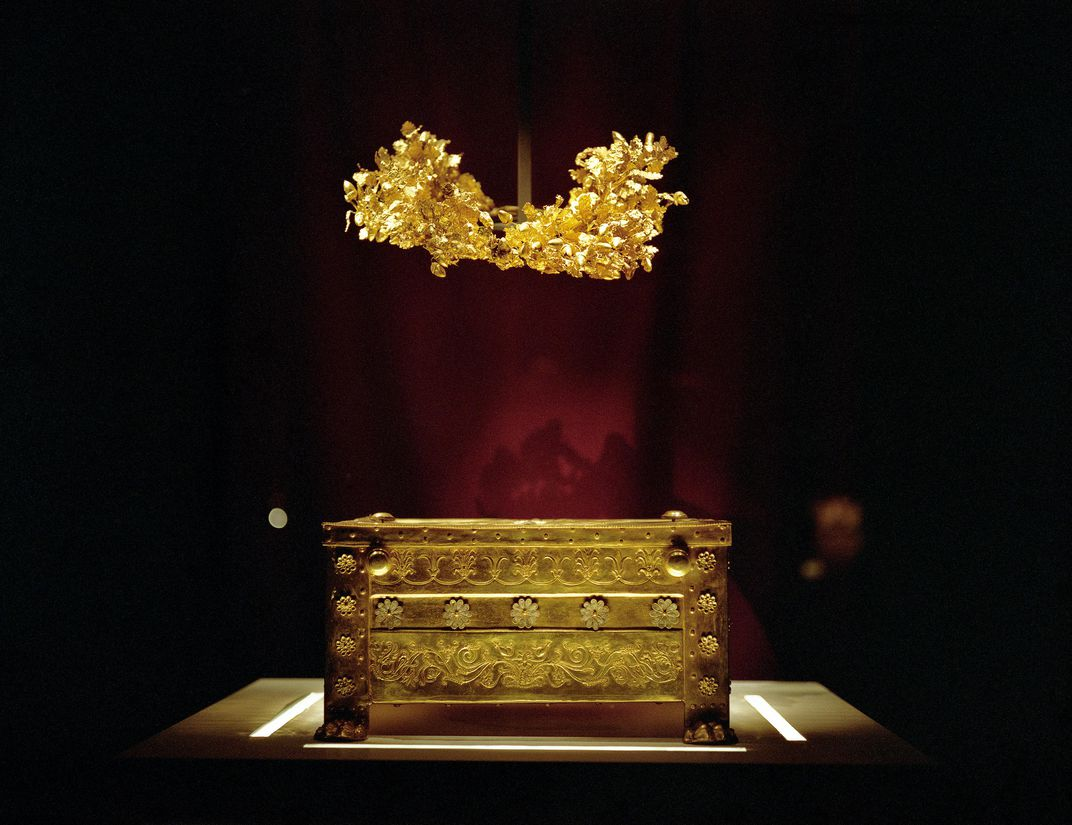 Treasures in Philip's tomb:  a golden larnax that held his ashes and his wreath, partially melted in the pyre.