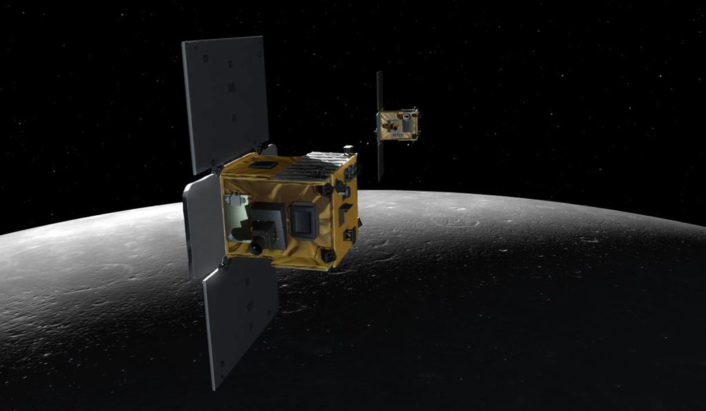 An artist's impression of GRAIL's twin satellites, Ebb and Flow.