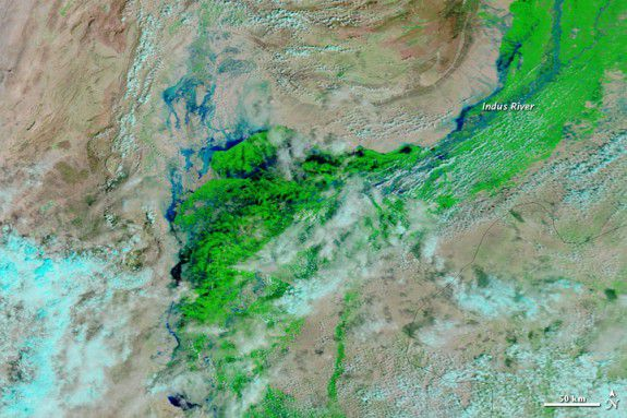 The Indus river, showing the flooding, as of September 13, 2012