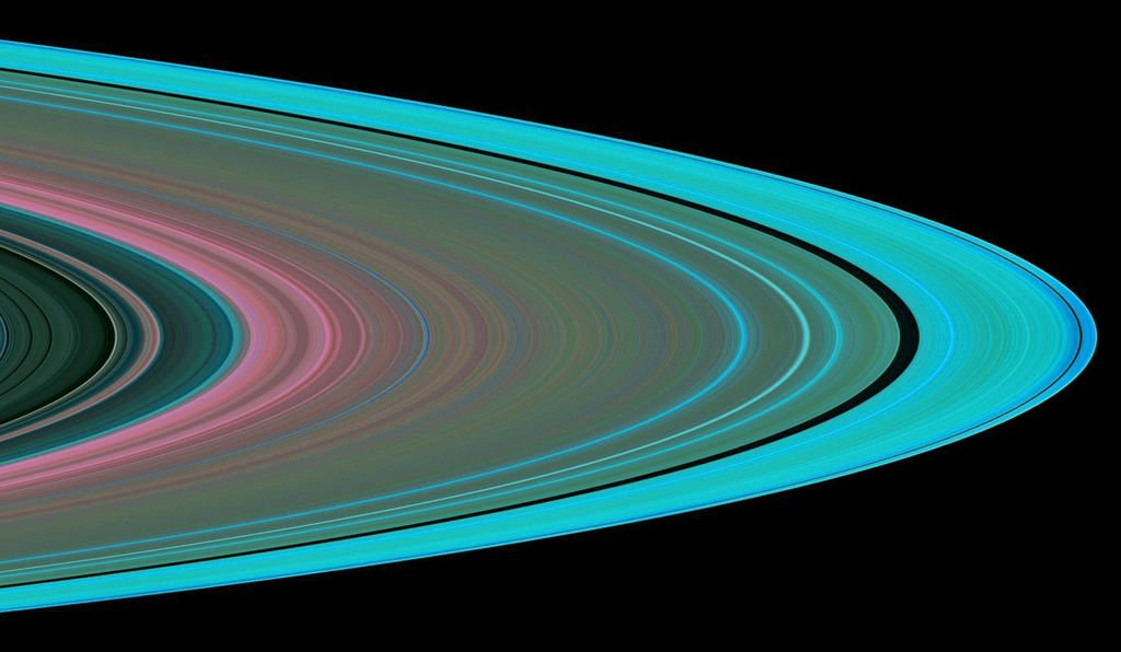This false-color image was creating using radio signals sent from Cassini back to Earth through Saturn's rings.