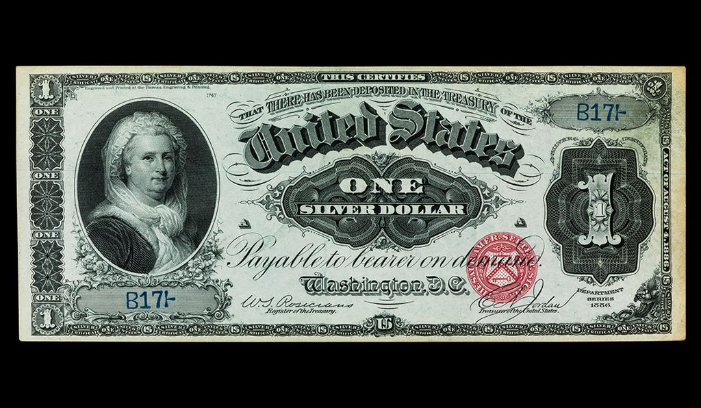 One-dollar silver certificate, United States of America, 1886, Martha Washington, First Lady of the United States of America