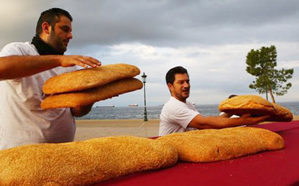 Greeks ring monument with a bread bagel