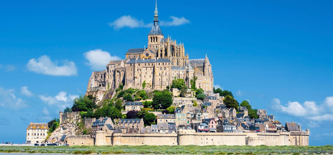 The historic Mont St. Michel off the coast of Normandy