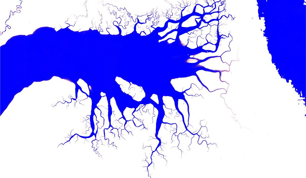Map of the distribution and change in surface water over 32 years from over 3 million Landsat satellite images. This map shows an inlet in the south of the Bird's Head Peninsula in West Papua, Indonesia and captures the spatial and temporal patterns in surface water. Dark blue colors are areas of permanent water and the pink colors show areas of where water occurs less often.