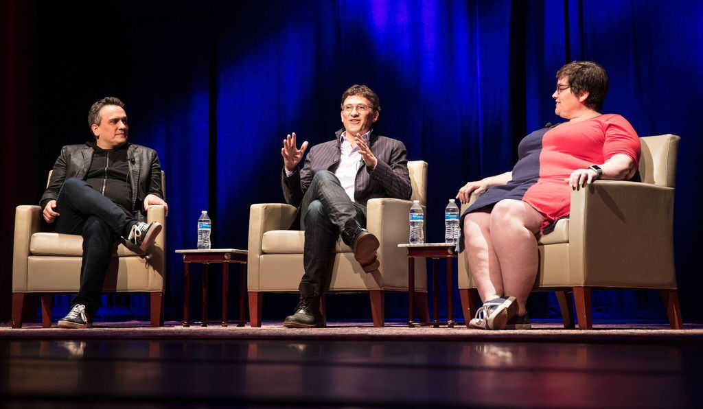 Joe Russo (left) and his brother Anthony (middle) gleefully pick apart <i>Infinity War</i> in a discussion at George Washington University moderated by NPR's Linda Holmes (right).