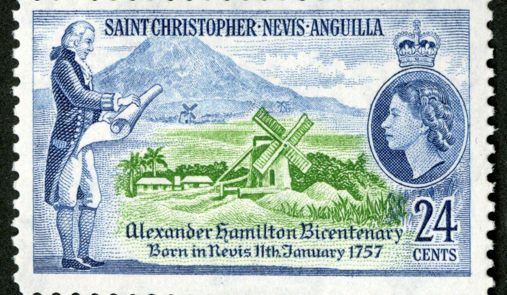 This 24¢ stamp released in 1957 sets Hamilton against the backdrop of his birthplace, the small Caribbean island of Nevis.