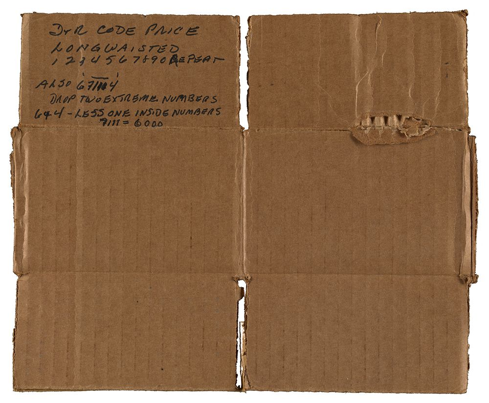 Piece of cardboard box with price code key for paintings by Winslow Homer