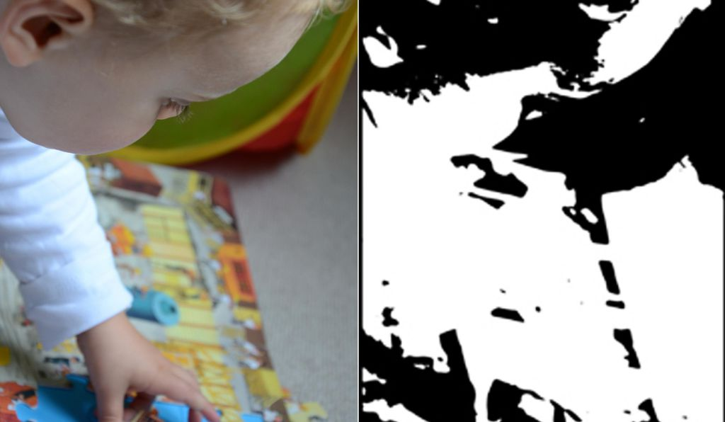 An example image (left) and the black and white version after processing (right).