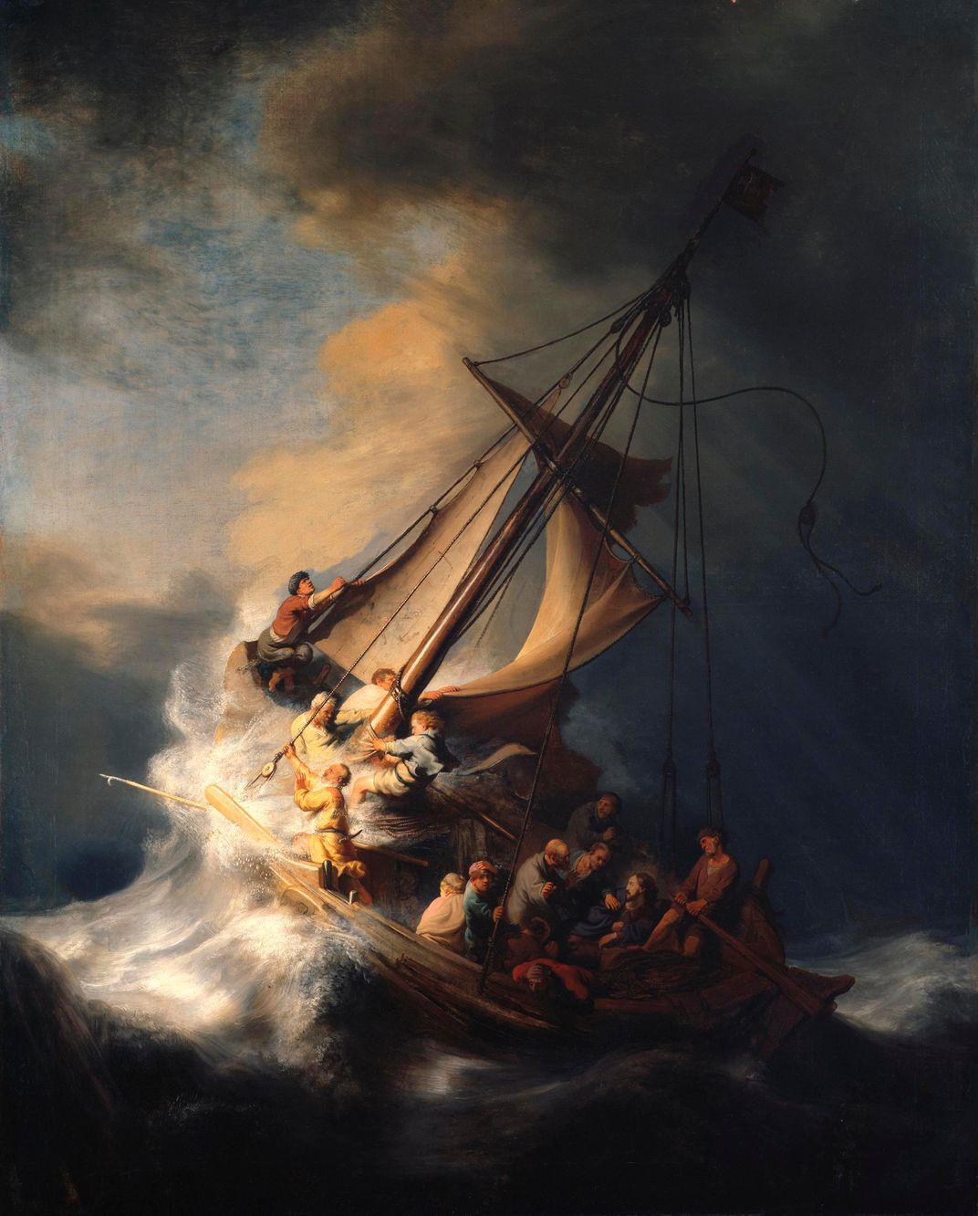 A dramatic view of men, Jesus' disciples, on a ship in tossing, rough waters, with bright light emerging from the left of the composition