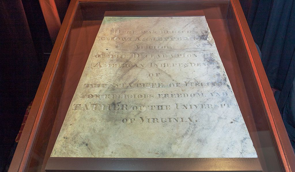 The Thomas Jefferson tombstone plaque is now repaired and returned to the University of Missouri.