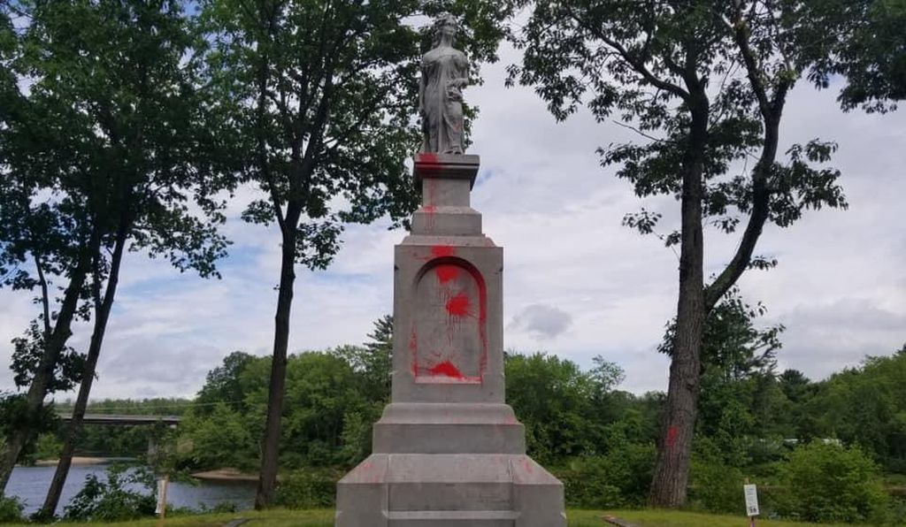 Earlier this year, the statue of Duston was splashed with red paint in protest