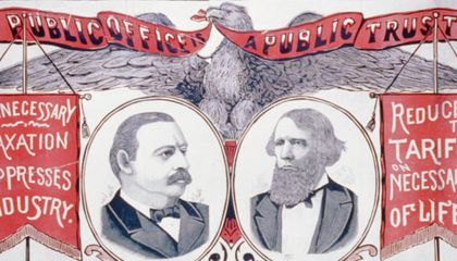 Grover Cleveland and Allen Thurman campaign banner
