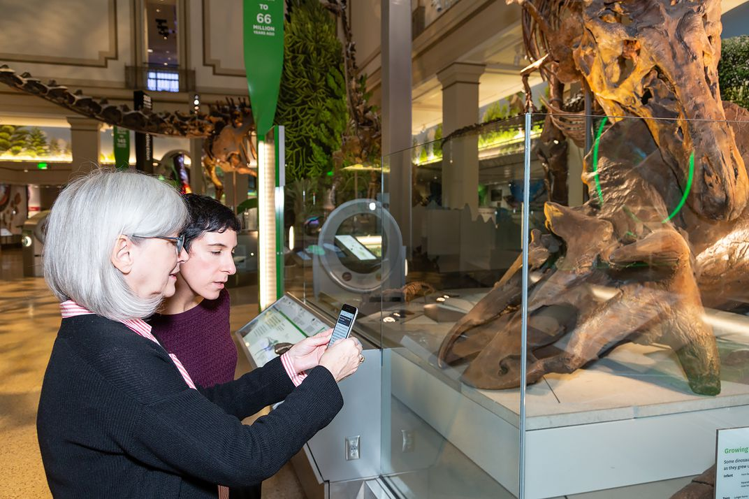 Two women looking at the Deep Time Audio Description app on a smartphone while standing in front of a display featuring a T. rex decapitating a triceratops in the Smithsonian's new fossil hall.