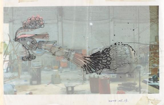 Preparatory drawing of Xu Bing's Phoenix Project.