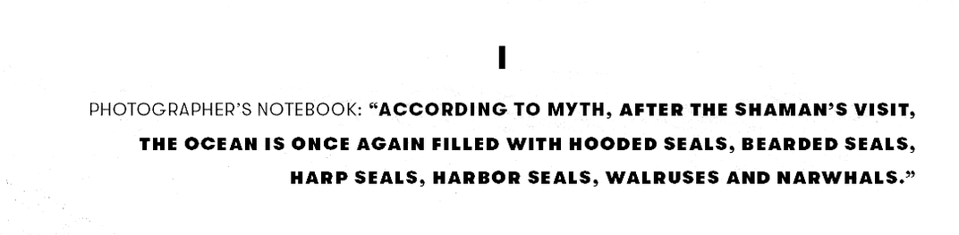 """""""According to myth, after the shaman's visit, the ocean is once again filled with hooded seals, bearded seals, harp seals, harbor seals, walruses and narwhals."""""""