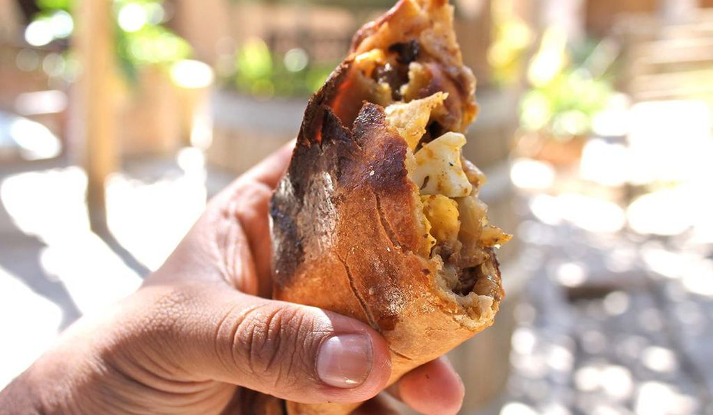 An empanada at the Destileria Mistral restaurant in the Pisco Elqui.
