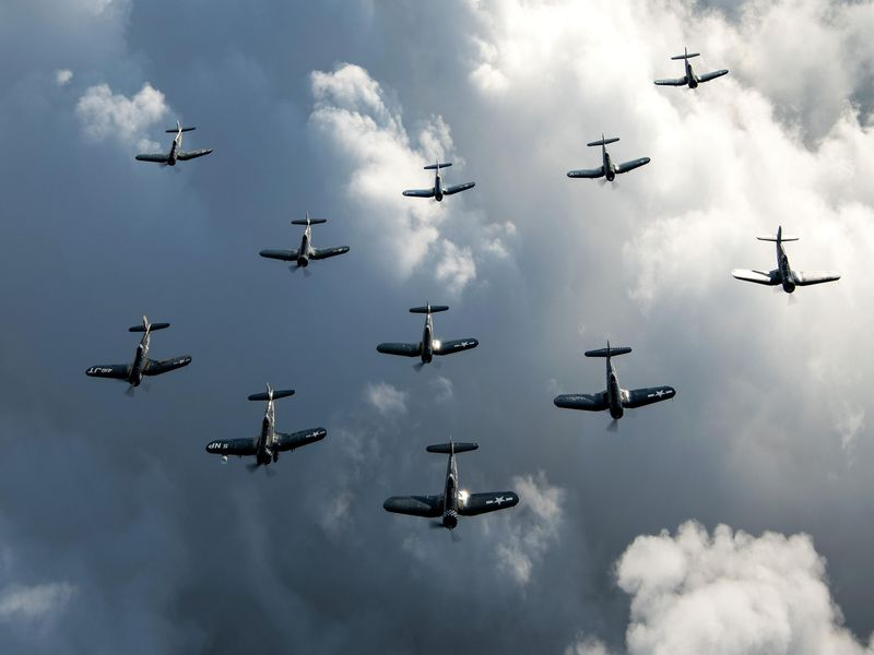 11 Corsairs in the sky