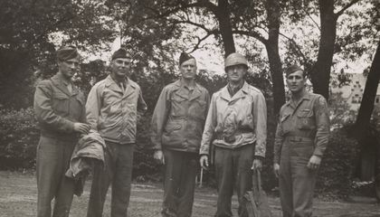 Walker Hancock, Lamont Moore, George Stout and two unidentified soldiers in Marburg, Germany, June 1945.