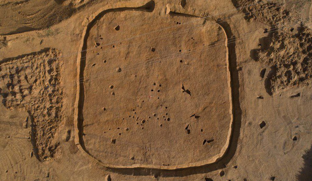 Archaeologists found the hoard in an ancient square enclosure