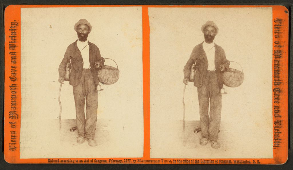 A stereograph of Mat Bransford, one of Mammoth Cave's first guides
