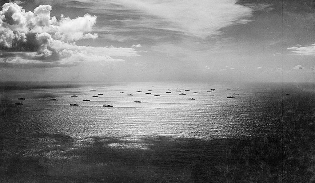An Allied convoy crosses the Atlantic Ocean in November 1942.
