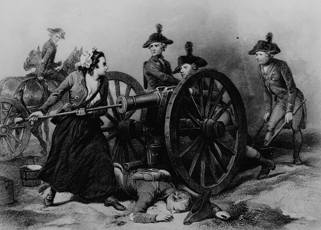 An 1859 engraving that places Molly Pitcher at the center of the Battle of Monmouth