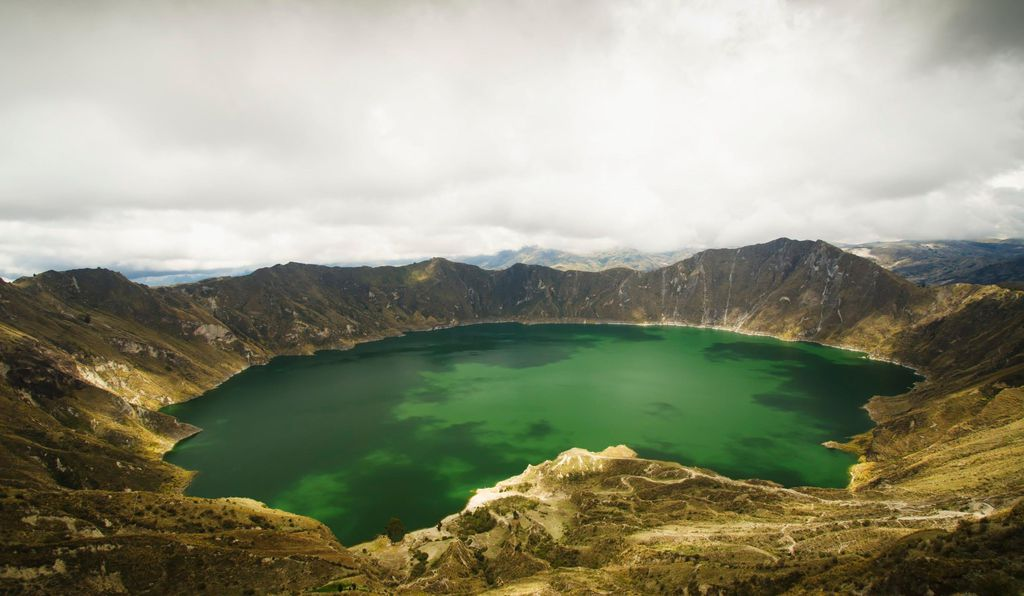 View of a lagoon with green water; Quilotoa, Cotopaxi, Ecuador