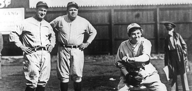 Jackie Mitchell, Lou Gehrig and Babe Ruth