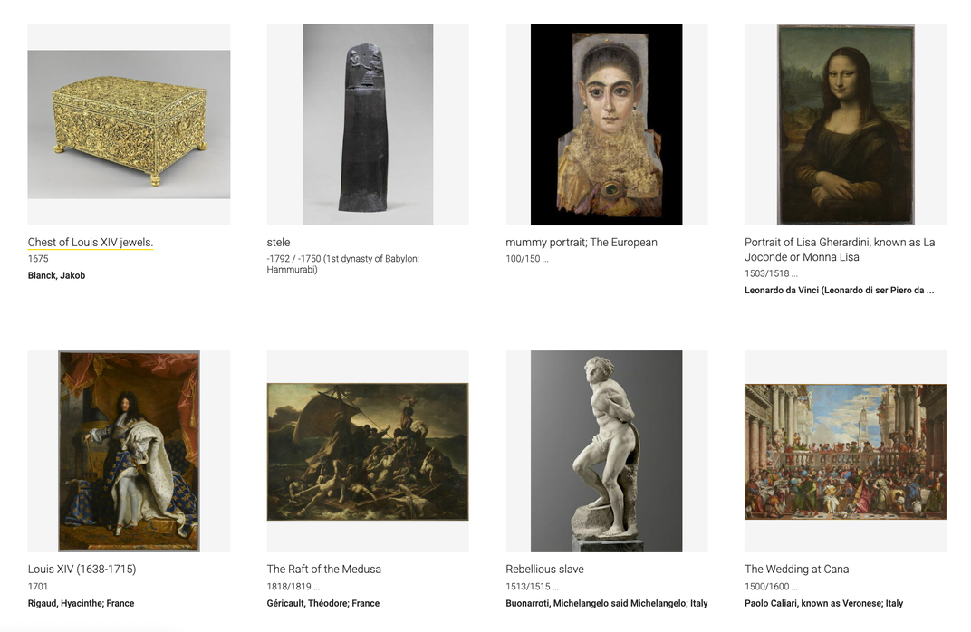 "A screenshot of various small squares with works of art, including the Mona Lisa on far right, a mummy portrait from ancient Egypt and a 16th century sculpture of a ""rebellious slave"""