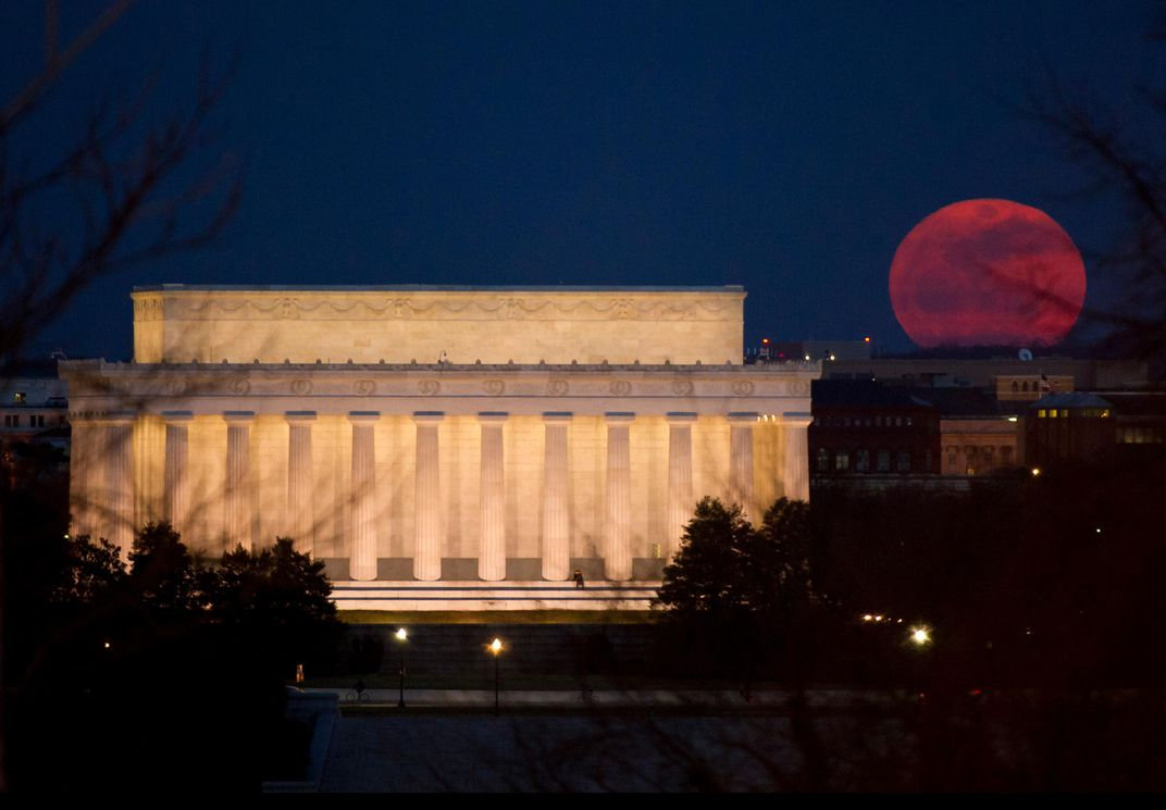 Lincoln Memorial and red moon