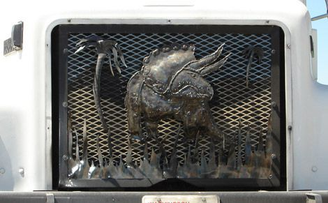 A Triceratops grill cover as seen in Granger, Washington