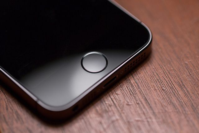 The iPhone 5s' home button also serves as a fingerprint scanner.