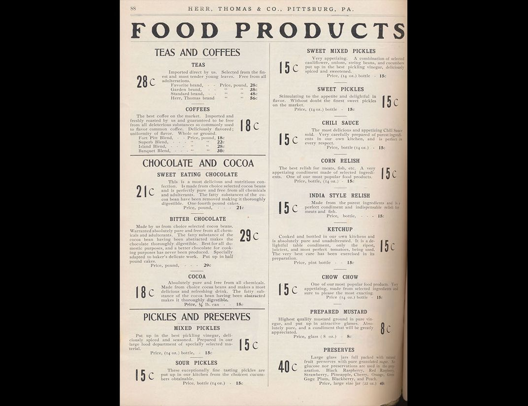 Catalog page describing various foods, including chocolate.