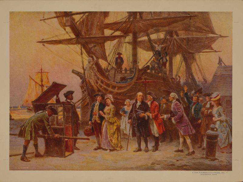 A painting of Franklin's return to Philadelphia