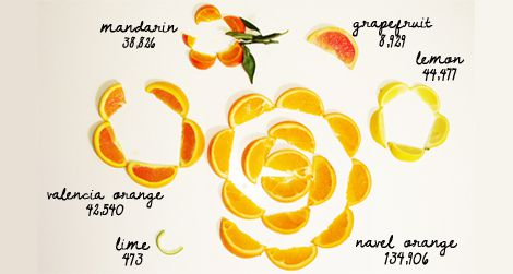 Visualization of California's statewide citrus production volumes.