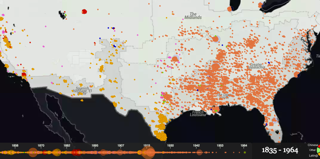 This Map Shows Over A Century Of Documented Lynchings In The - Racism map in the us