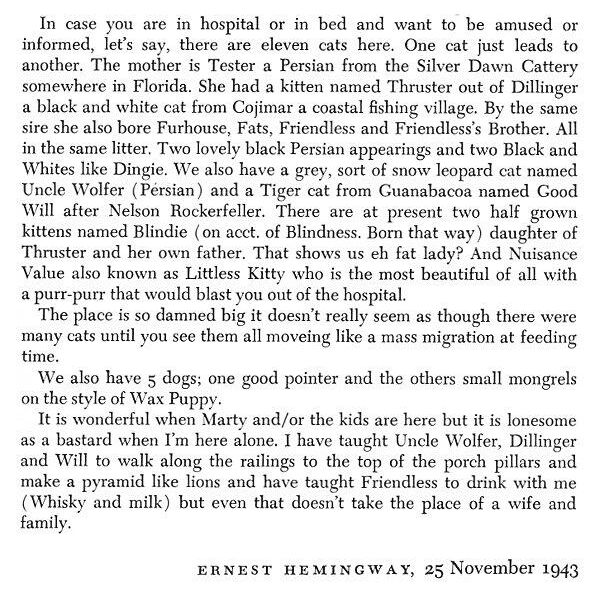 Hemingway's 1943 letter to his first wife, Hadley Mowrer