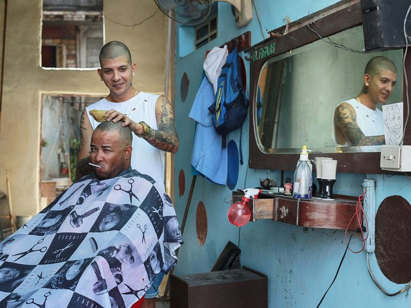 A typical hairdresser in the historic center of Havana, Cuba.