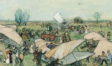 No fan of aviation, Rudolph Dirks was persuaded by a friend to attend the air meet.