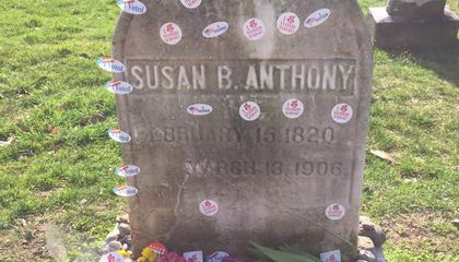 Why Women Bring Their 'I Voted' Stickers to Susan B. Anthony's Grave